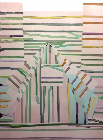 Skogsvägen (2014) olja på duk / oil on canvas, 190x134cm. ©Hillevi Berglund bildupphovsrätt (2017).